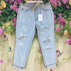 KanCan Light Wash Distressed Jeans Size 11/29 NWT